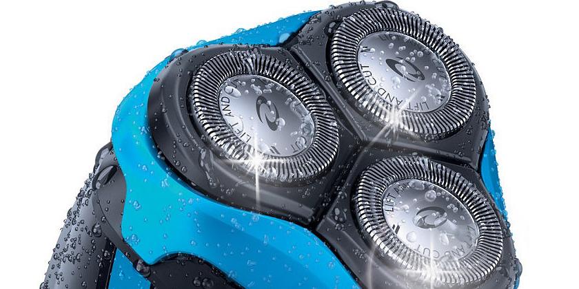 Philips AquaTouch AT750/16, aparat de ras cu 3 capete, acumulator, negru/albastru